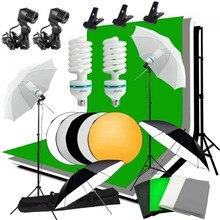 Zuochen estúdio guarda-chuva foto iluminação pano de fundo kit + 4 backdrops 2 guarda-chuvas 2*135w lâmpadas refletor + pano de fundo suporte