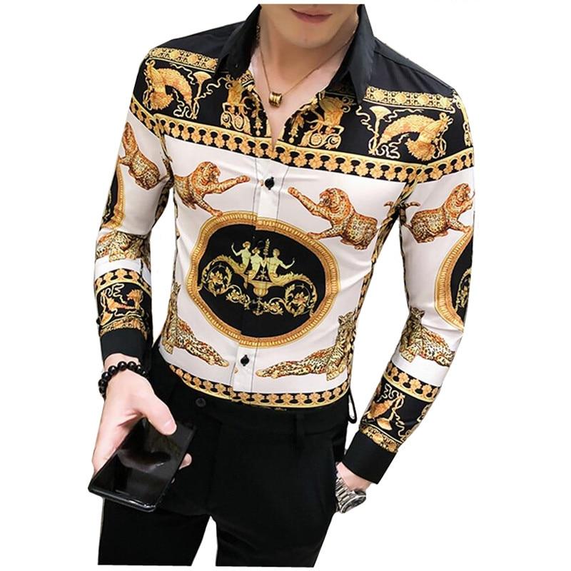 Luxury Gold Leopard Print Shirt Men Long Sleeve Camisa Masculina Slim Fit Casual Dress Shirts Mens Streetwear Social Clothing