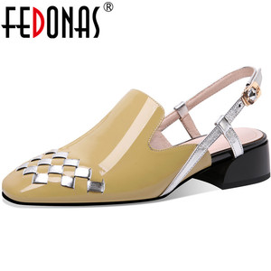FEDONAS Metal Buckle Women Shoes Thick Heels Pumps Summer Autumn Patent Leather Sandals Classic Design Party Dancing Shoes Woman
