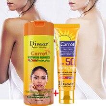 Carrot Bleaching Body Cream Whitening Dark Skin +Sunscreen Whitening Sun Cream Sunblock Anti-Aging Oil-control SPF50 Set