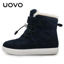 Uovo New Kids Snow Boots 2019 Winter Warm Boys And Girls Shoes Fashion Children Thicken Plush Boots Size 29 30 31 32 33 34 35 36 недорого