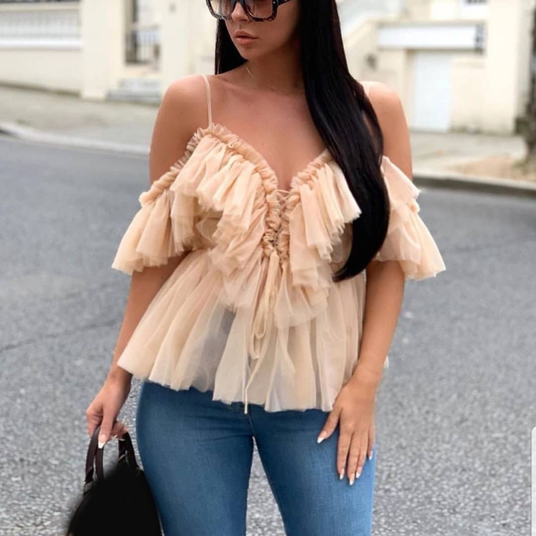 Fashion 2019 Women Off Shoulder Layer Mesh Blouses Sexy Summer Spaghetti Strap Backless Top Female Vintage Lace Up Ruffle Shirt