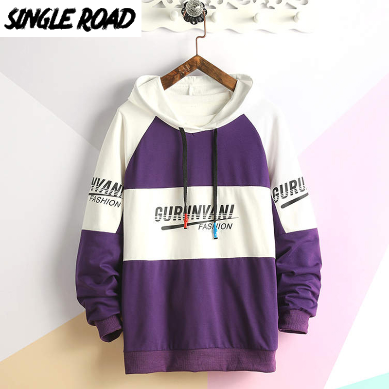 SingleRoad Men's Hoodies Men 2020 Oversized Japanese Streetwear Sweatshirt Hip Hop Harajuku Sweatshirts Male Purple Hoodie Men