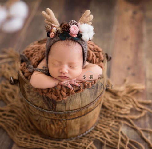 Hand-refurbished Old Wooden Barrel Baby Photo Baby Photo Assistant Basketnewborn Photo Prop Container
