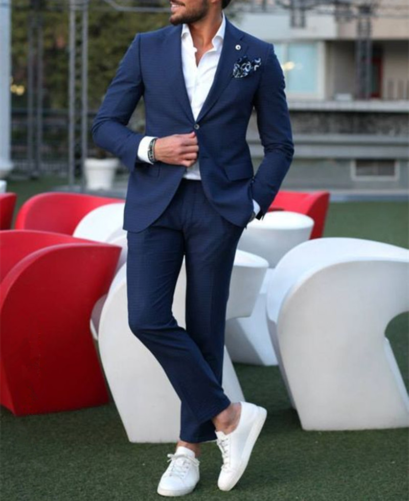 Dark Blue Tuxedo Men Suits For Wedding 2Pieces Business Suit Blazer Peaked Lapel Costume Homme Terno Party Suits(jacket+pant)