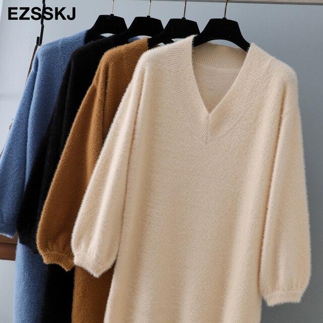 v-neck short lantern sleeve loose mini sweater dress   4