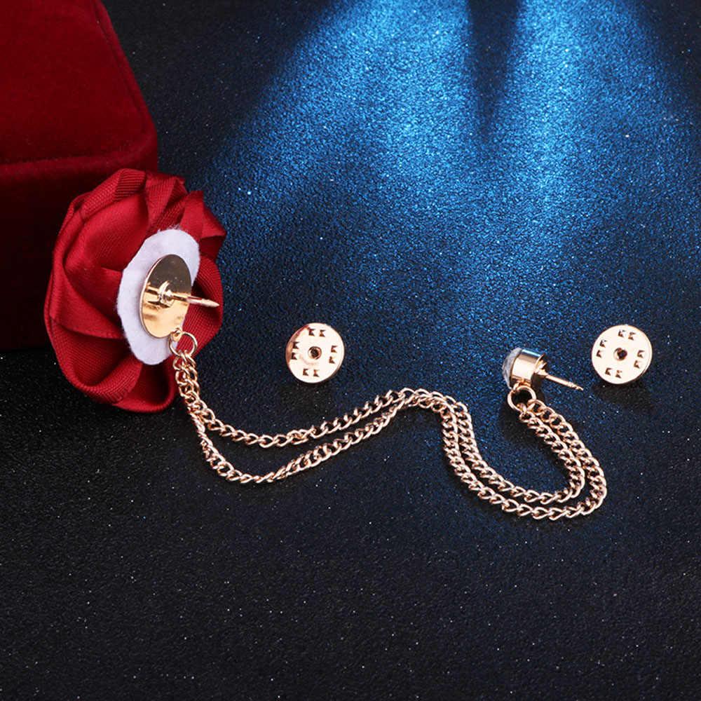Coreano Sposo Spille Da Sposa di Arte del Panno fatto A mano Del Fiore della Rosa Spilla Risvolto Spille Distintivo Della Catena Della Nappa del Vestito degli uomini accessori
