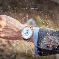 Vie résistance à l'eau hommes d'affaires automatique auto-remontage montres jeune angleterre vent en cuir véritable Montre-bracelet étanche Montre
