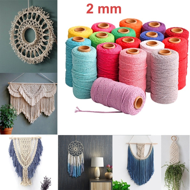 2mm 100M Colorful Thread Cord Handmade Crafts DIY Beige Twisted Cotton Macrame Cord Twine Rope String Home Textile Decoration