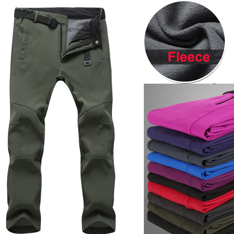 Fleece Hiking Pants Men Women Outdoor Waterproof Pants Warm Softshell Broek Swat Pants Fishing Trekking Pants Women Hiking Pants
