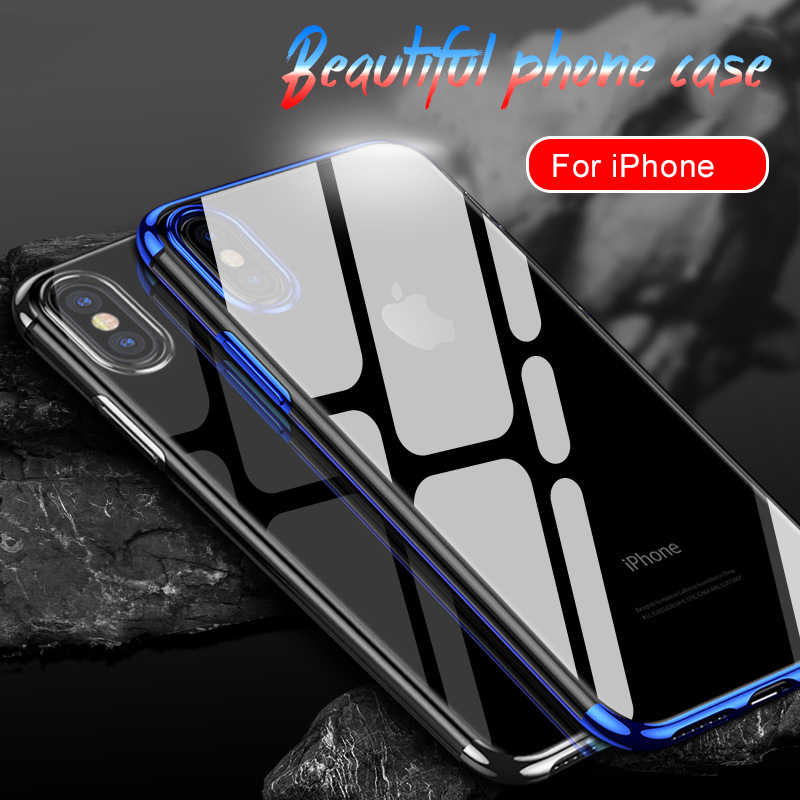 Luxury Silicone Case for iPhone 11 Pro Max 7 6S 6 Plus TPU Soft Plating Frame Transparent Cover for iPhone X Xs Max XR 8 Plus 11