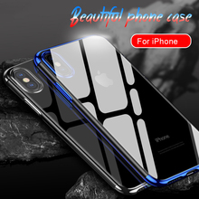 Luxury Silicone Case for iPhone 11 Pro Max 7 6S 6 Plus TPU Soft Plating Frame Transparent Cover X Xs XR 8