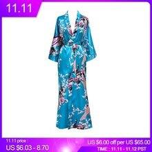 Plus Size XXXL Phụ Nữ Trung Quốc Dài Áo Dây In Hoa Dương Đào Kimono Tắm Áo Choàng Cô Dâu Phù Dâu Cưới Áo Choàng Gợi Cảm Đồ Ngủ