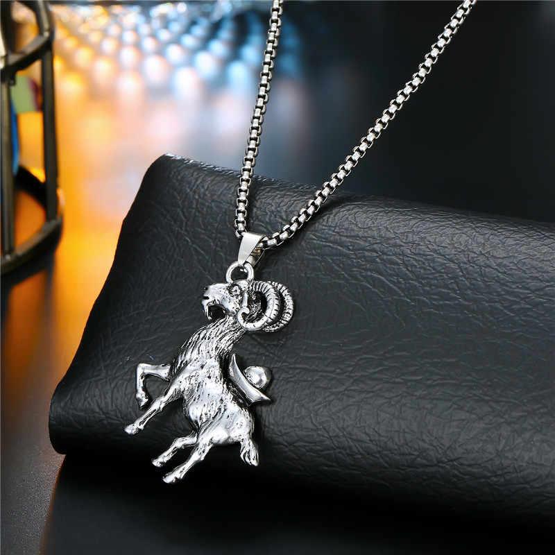 1pcパーソナリティロックヤギイーグルタイガー動物ネックレス女性パンクヴィンテージメタルドラゴンスカルペンダントネックレス男性宝飾N72