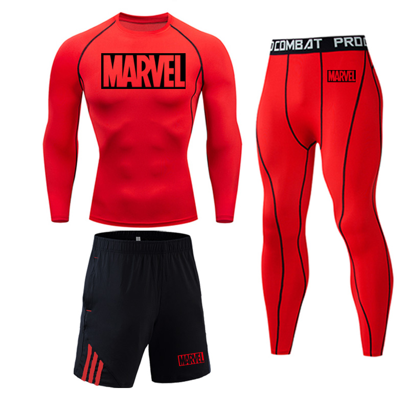 2019 Brand Marvel letter Men's Running Set Compression Sports Suits Skinny Tights Clothes Gym Fitness Sportswear shirt Quick Dry