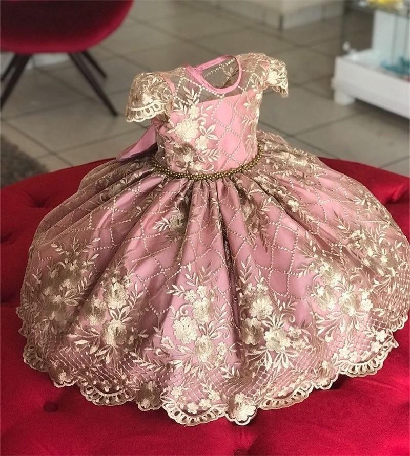 Kids Birthday Princess Party Dress for Girls Flower Bridesmaid Elegant Dress Children Wedding Party Formal Dress Prom Gown 3-10T 1