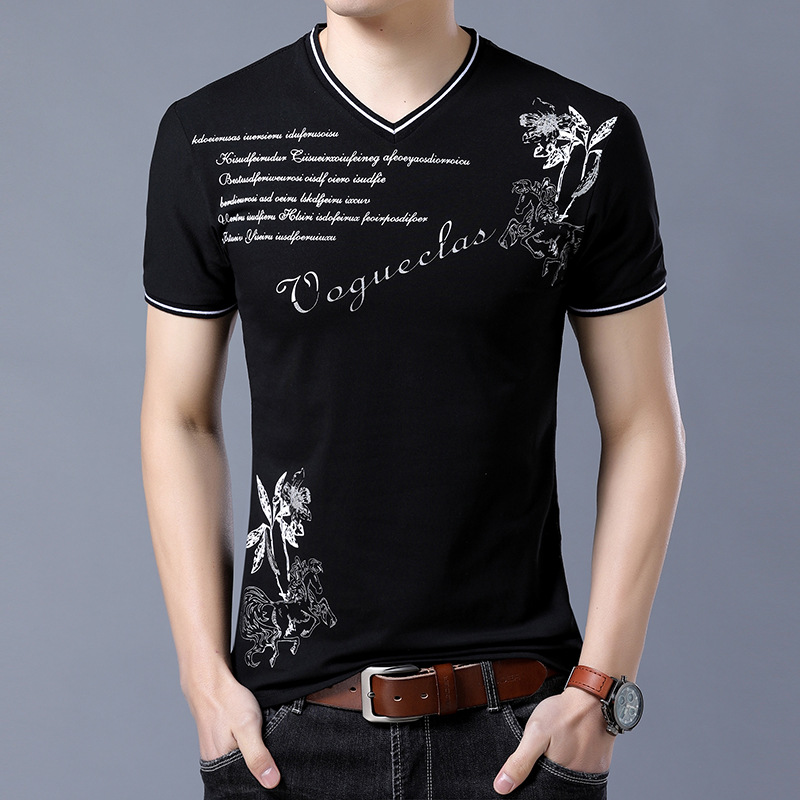 Summer New T-Shirt Men Cotton Short Sleeves Casual Male V Neck Prints Tops Tees