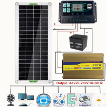 220V Solar Power System 30W Solar Panel Battery Charger 220W Inverter USB Kit Complete Controller Home Grid Camp Phone PAD