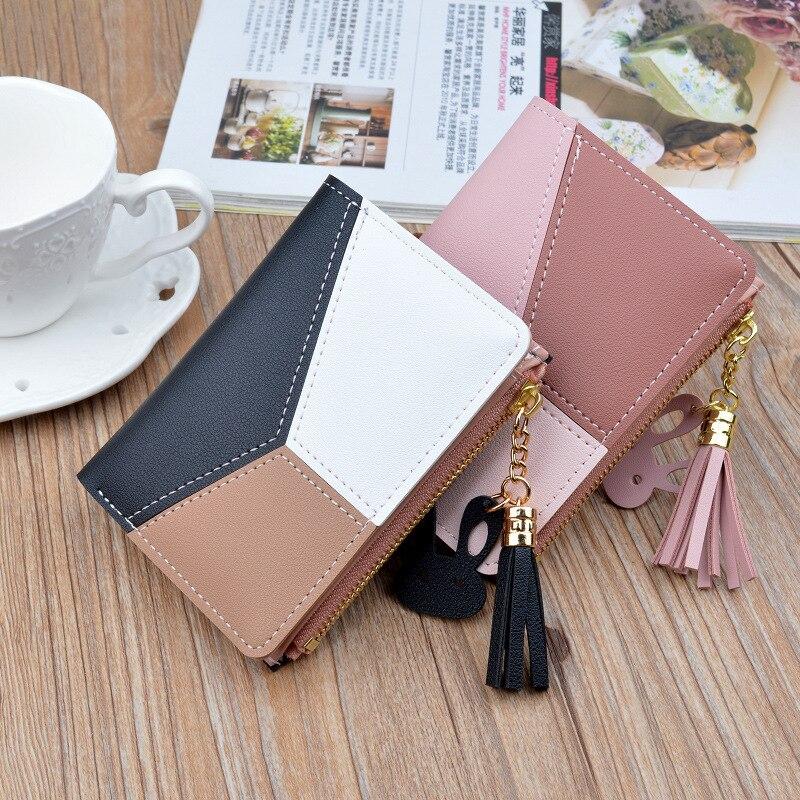 Billeteras geométricas rosas para mujer, Cartera de bolsillo, tarjetero de retales, monedero corto a la moda para mujer|Carteras|   -