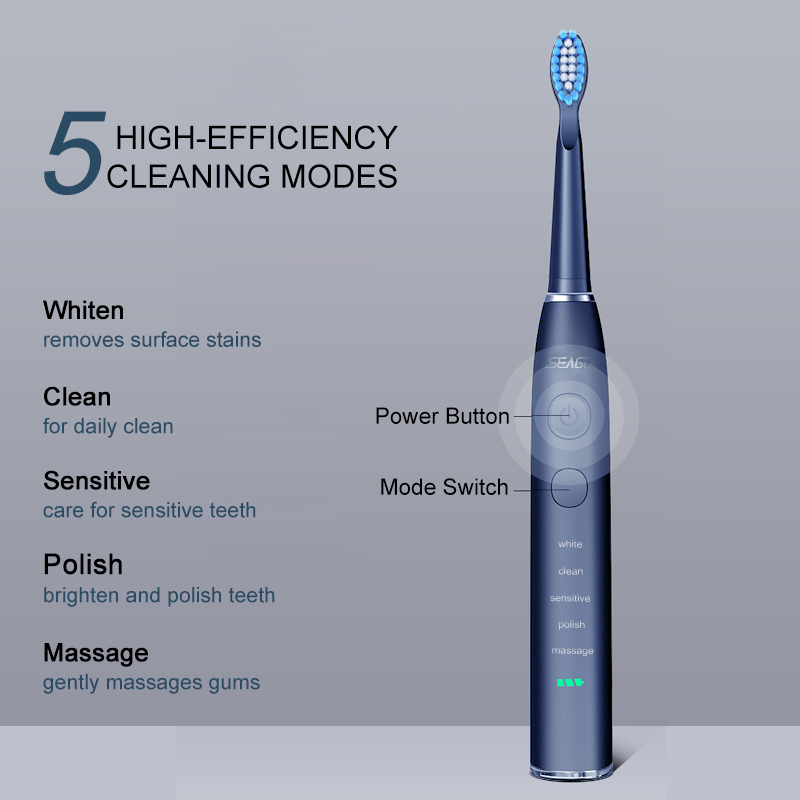 Seago Electric Toothbrush Adult USB Fast Charge Waterproof Rechargeable Sonic Automatic Tooth brush Replacement Heads SG-575