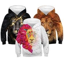 От 3 до 12 лет худи для мальчиков с 3D принтом льва осенний свитер с капюшоном для мальчиков-подростков детская одежда пуловер с длинными рукавами