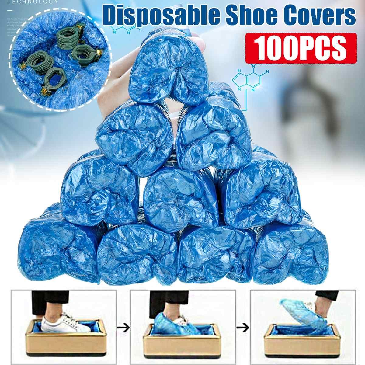 100Pcs Thickened Disposable Shoe Cover Plastic PE Waterproof Dustproof Home Office Indoor Outdoor Rainproof Shoe Booties Covers