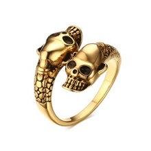 Skulls Titanium steel Adjustable Ring Mens Vintage Jewelry