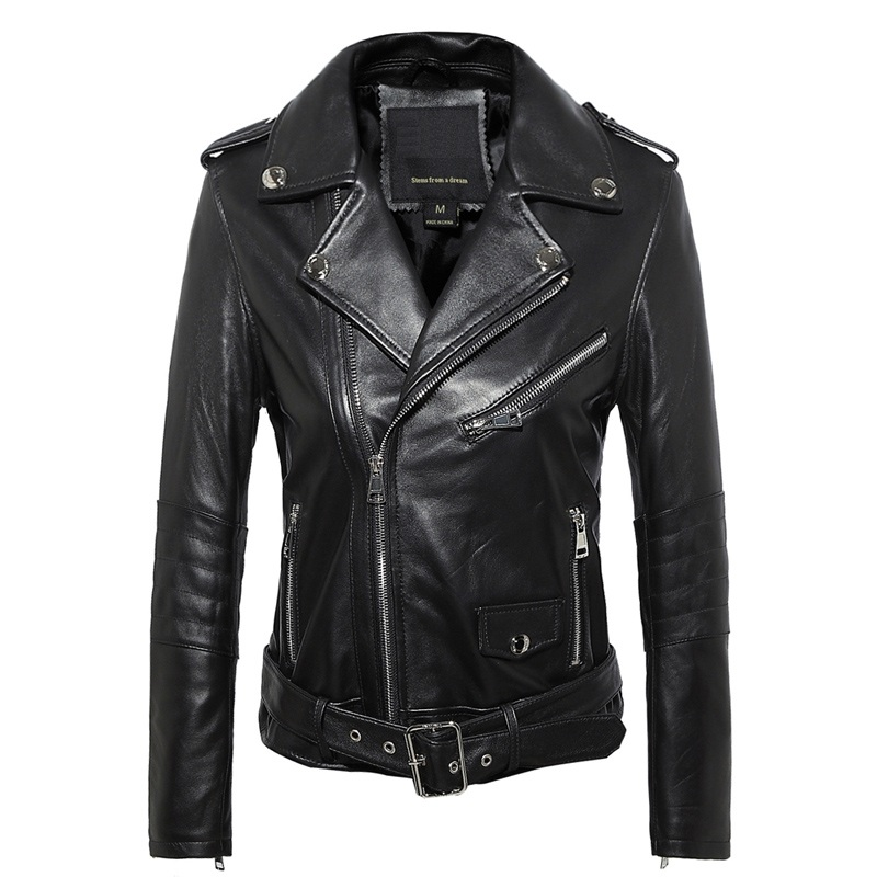 Free Shipping,Genuine Leather Woman Slim Leather Jackets.fashion Motorbiker Asian Size Female Sheepskin Jacket Brand Plus