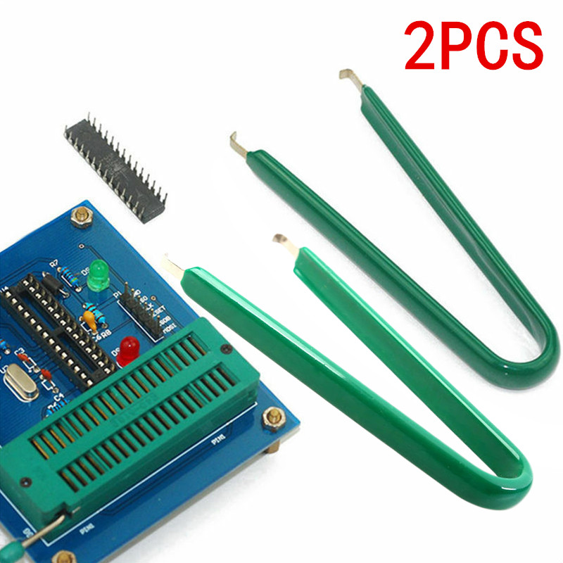 2pcs Green U Type IC Extractor ROM Circuit Board Chip Plier Removal Puller Tool 10.5*5.5cm Hand Tools For Pull Integrated Block