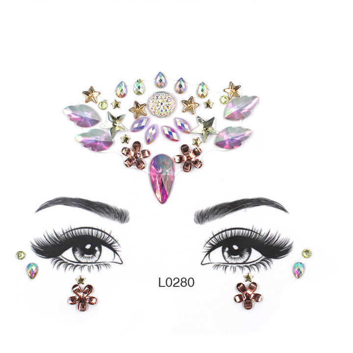 7  Acrylic Jewelry Stickers Colorful Rhinestone Face Stickers For Women Eyebrow Eye Masquerade Decor Resin DIY Drill Face Sticker