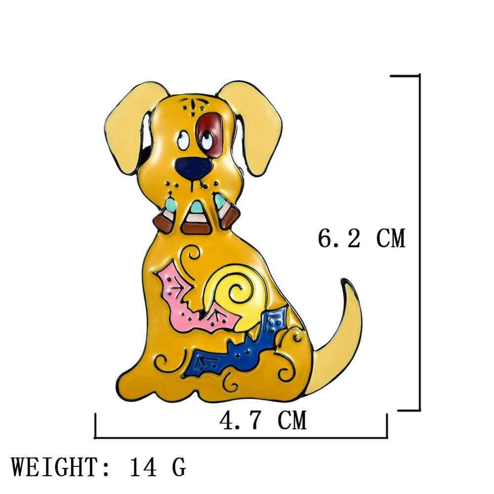 かわいい犬ブローチ女性の男の子ファッションハロウィンギフトチャーム亜鉛合金金属ブローチピン服アクセサリーブローチ女性のための