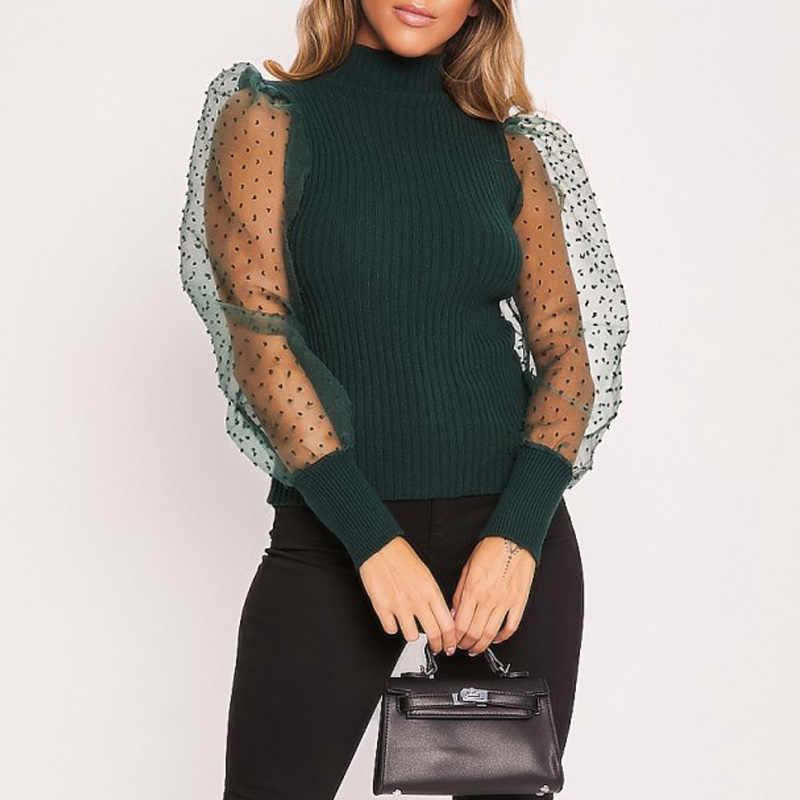 Kadın bahar örgü puf uzun kollu nervürlü örme gömlek gevşek rahat puantiyeli bluz Tops zarif balıkçı yaka parti Clubwear