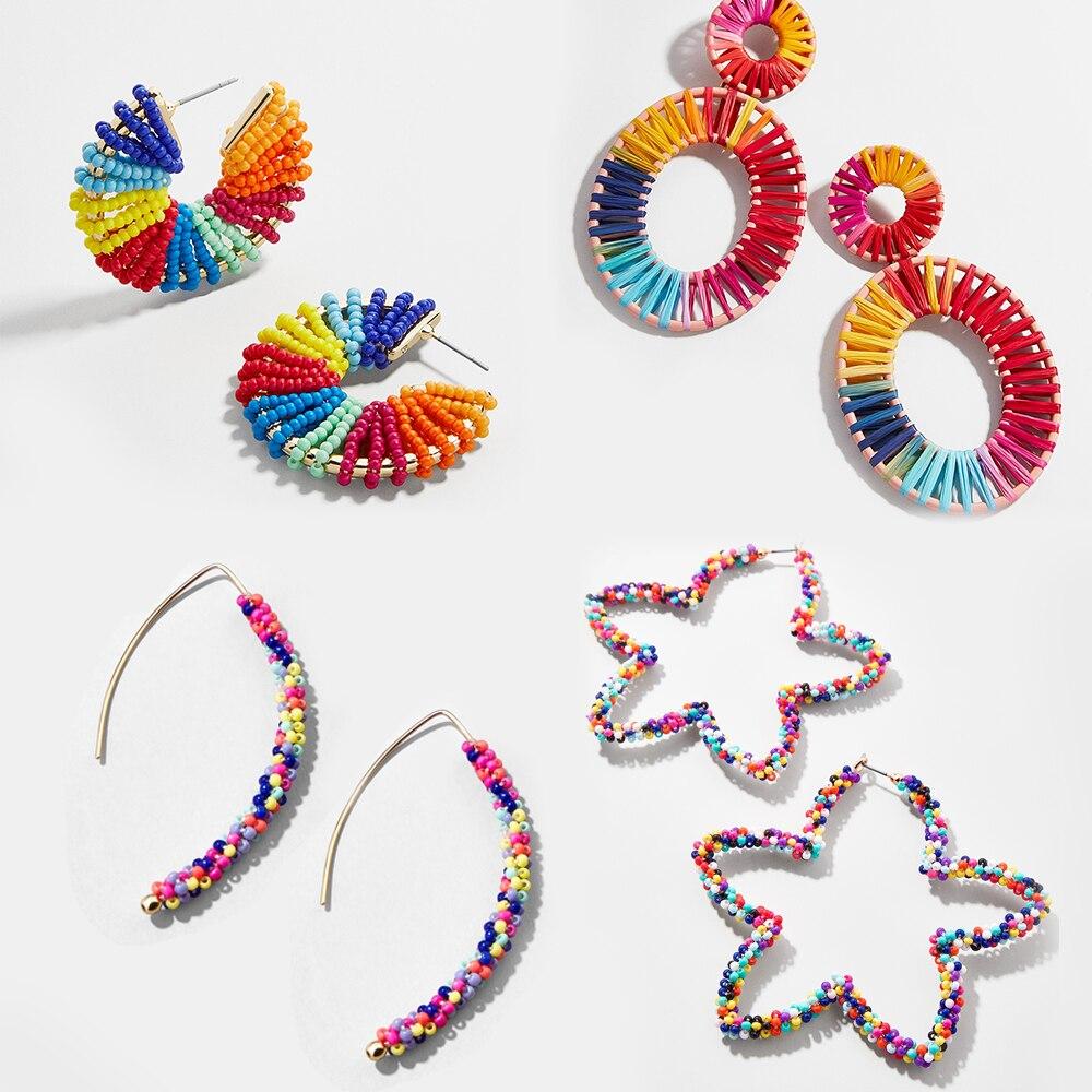 Bohemia Handmade Beaded Drop Earring For Women Trendy Rainbow Color Ear Geometric Statement Dangle Earring Boho Jewelry Brincos