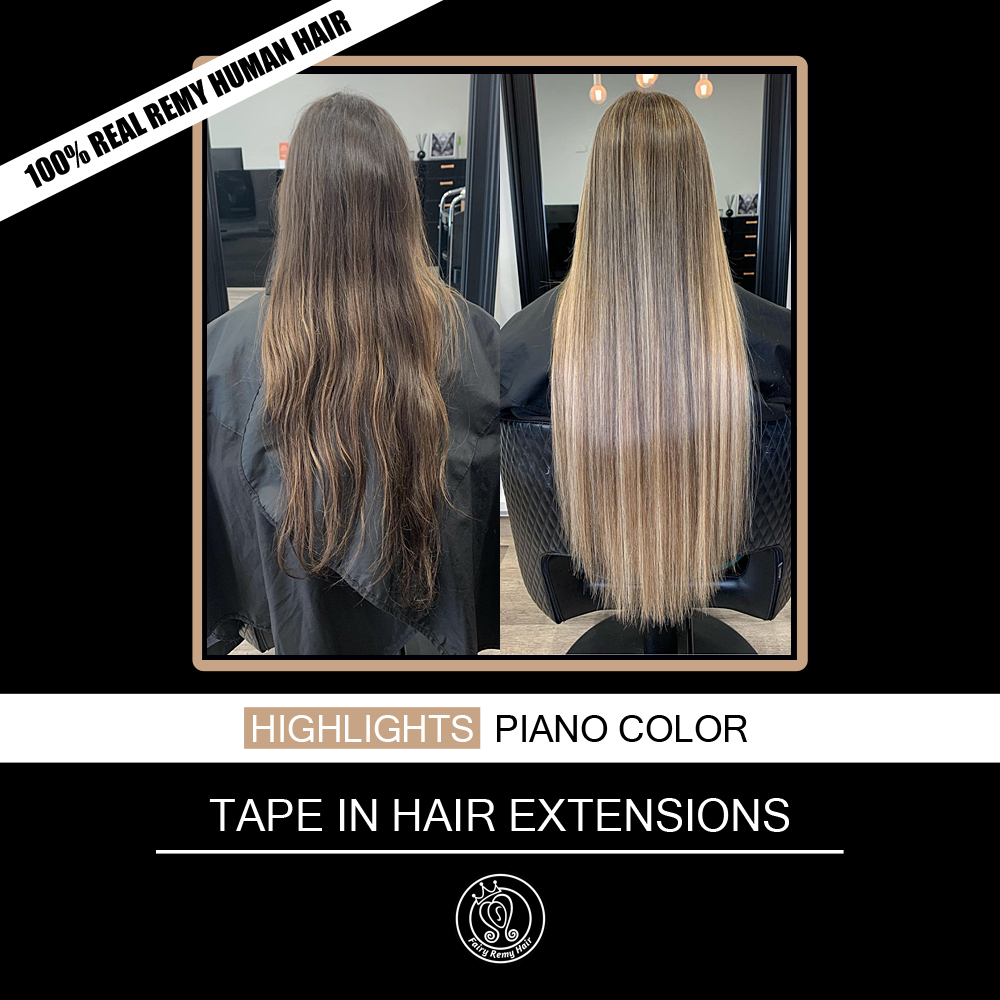 Tape In Hair Extensions Human Hair 100% Real Remy Human Hair Extension Balayage Highlights Color 2.0g/Piece 16 18 20 Inch