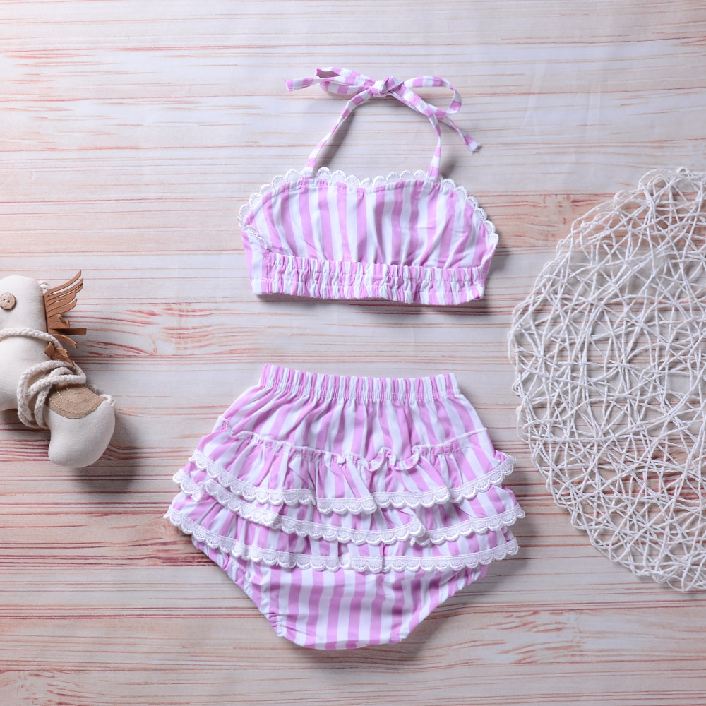 2018 Summer New Style INS Hot Selling KID'S Swimwear Stripes Lace Split Type CHILDREN'S Swimsuit