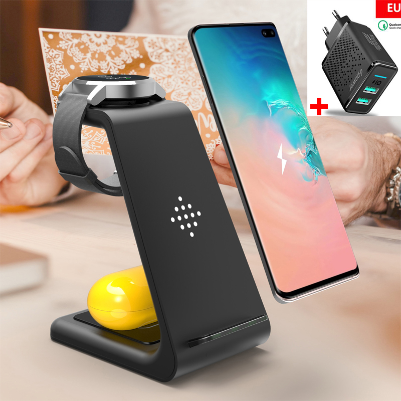 3 In 1 10W Fast Wireless Charger For Samsung Note 10 9 8 S10 S9 S8 Galaxy Watch Active/Galaxy Buds Wireless Charger Dock Station