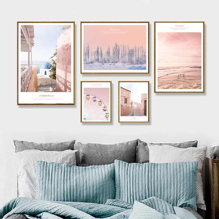 Modern Landscape Poster Pink World And Have Romatic Travel For Yourself Canvas Painting Art Wall For Living Room Girl Room Decor