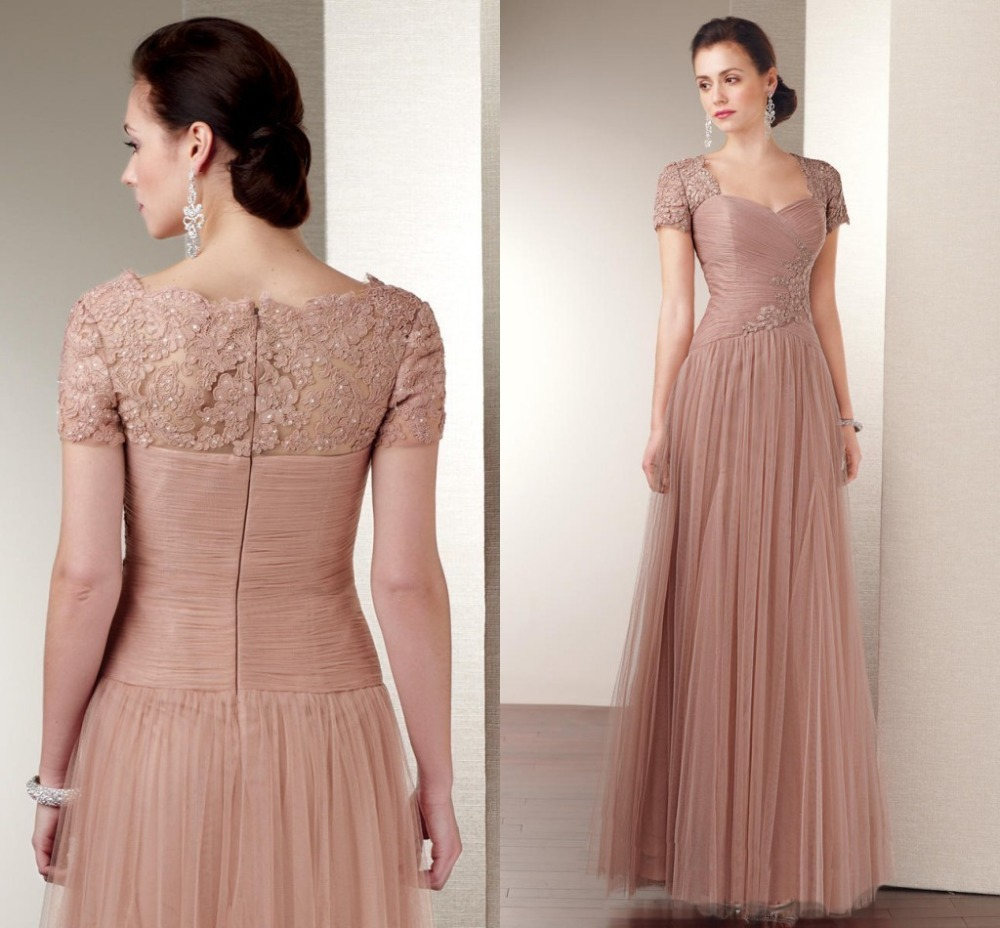 2014 Champagne Mother Of The Bride Dresses Cap Sleeves Floor Tulle Lace Appliques For Wedding Party Long Dress Sweetheart