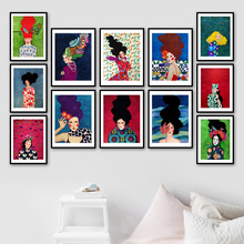 Abstract color Girl Retro Flower Wall Art Print Canvas Painting  Nordic Posters And Prints Pictures For Living Room