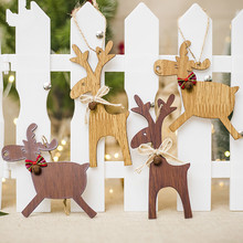ZOTOONE Christmas Wooden Deer Pendants Ornaments DIY Xmas Tree Kid Gift for Decorations Home I