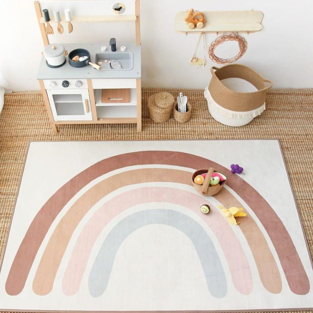 Baby Rainbow Playing Mats Kids Rug Floor Mat Tapete Tummy Children Playmat Rainbow For Bedroom Rugs Nursery Decor Quarto Ti V7T3