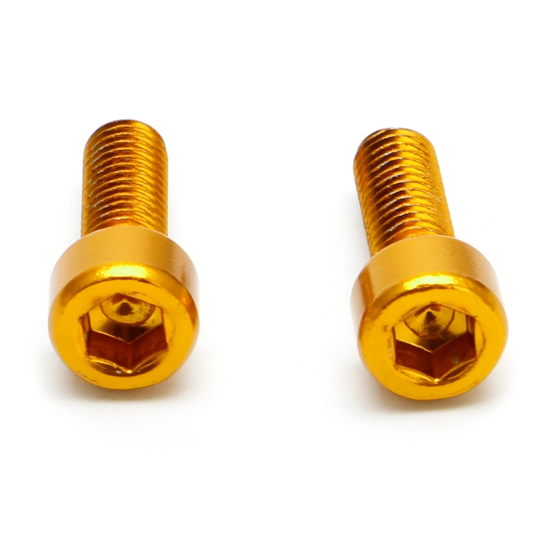 1 Pair <font><b>Bike</b></font> Water Bottle <font><b>Cage</b></font> <font><b>Bolts</b></font> M5 Aluminium Alloy Hex Socket Tapping Screws Gold image