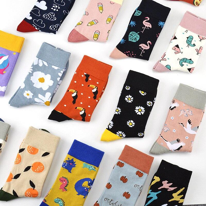 PEONFLY Korean Style Cartoon Cute Socks Women New 2020 Lovely Dinosaur Flamingo Funny Socks Spring Summer Calcetines Mujer