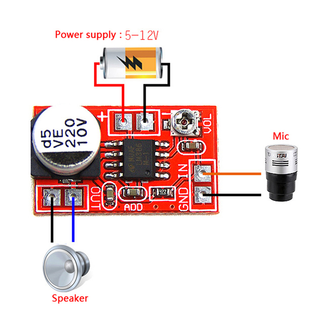 مكبر صوت ميكرو كهربائي 5 فولت-12 فولت تيار مستمر مكثف ميكروفون صغير مكبر صوت المجلس 2