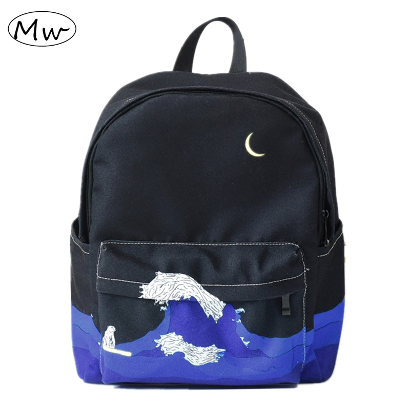 Moon Wood Original Design Black Blue Print Sea Moon Backpack Women Casual Canvas Backpack School Bags For Teenager Girls Sac