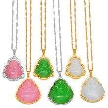Anniyo – collier pendentif bouddha pour femme, amulette rose/blanc/vert, Style chinois Maitreya, cadeau de noël, #242606