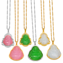 Anniyo Buddha Pendant Necklaces Women Pink/White/Green Amulet Chinese Style Maitreya Charms Jewelry Style Christmas Gift #242606