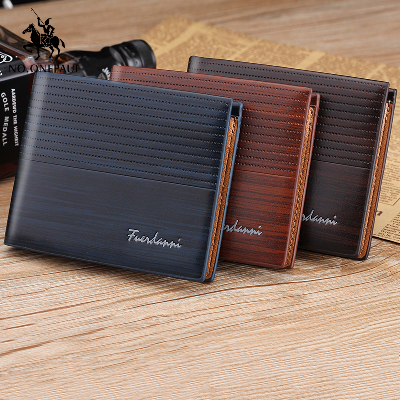 NO.ONEPAUL Genuine Leater Men Short Wallet Business Retro Cross Section Embossed Credit Card Holder Fashiong Wallets Men Purses