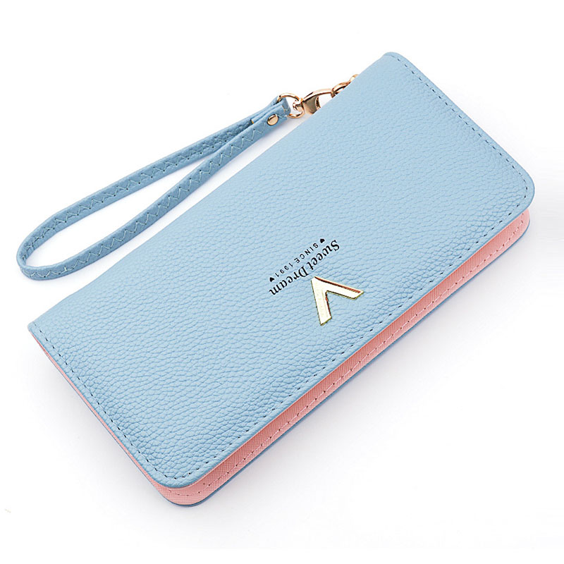 Leather Women's Wallet New Lychee Pattern Zipper Multifunction Large Capacity Purses Women Solid Color Purses Long Female Wallet