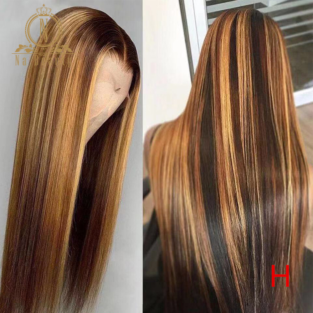 Transparent Lace Front Human Hair Wigs Brown Highlight Wig Pre Plucked Honey Blonde Ombre Color 180 Density Remy Hair Nabeauty